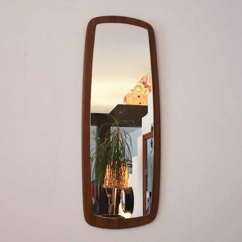 Scandinavian style teak mirror - 60s - 77x29cm