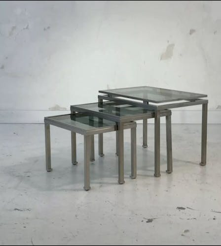 Suite of 3 pull out tables by Guy Lefèvre for Maison Jansen