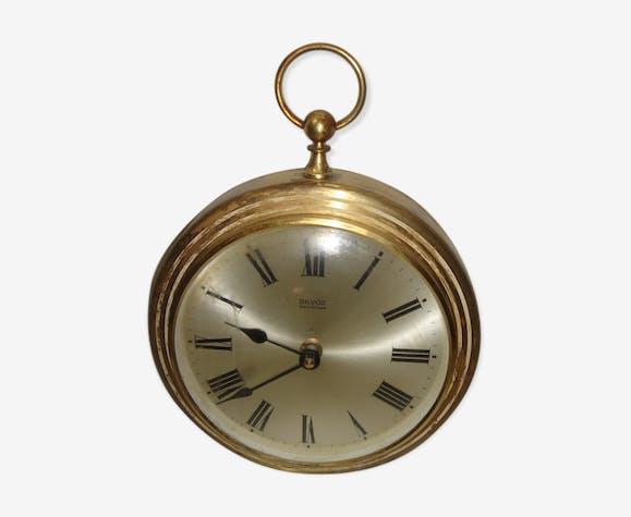Pendule en laiton Silvoz en forme de montre à gousset 1970