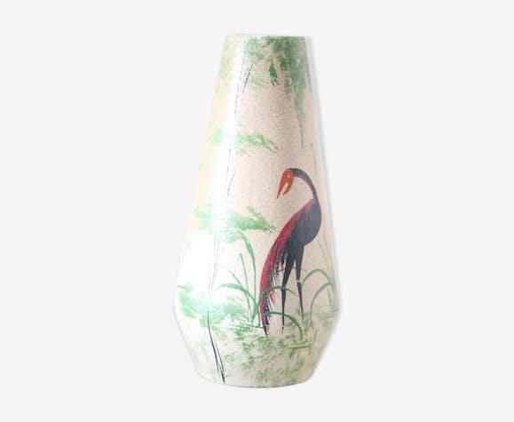 Vase en céramique allemande Foreign motif cigognes, 1960