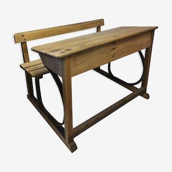 Pupitre d'écolier double bois & métal 1920