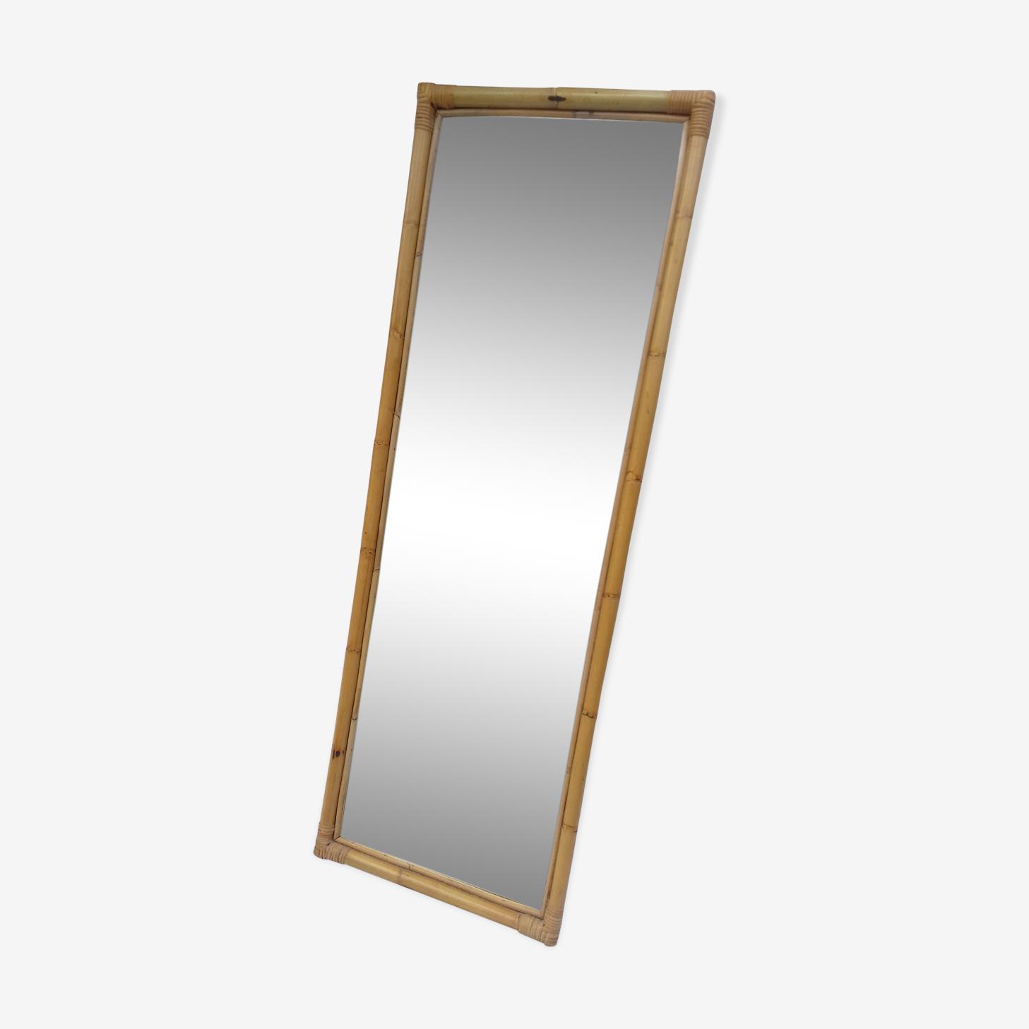 Miroir en rotin clair à poser ou suspendre 46x132cm
