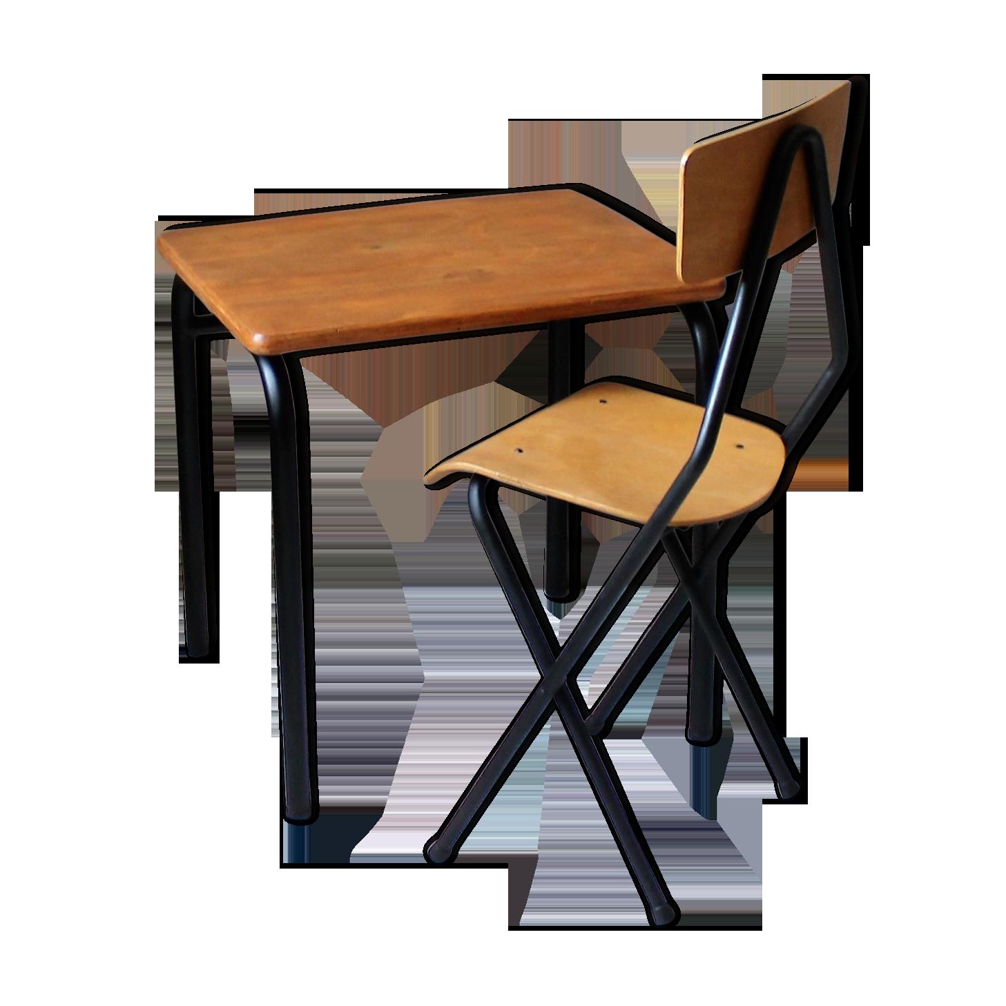 Bureau d écolier enfant vintage sa chaise fer bois couleur