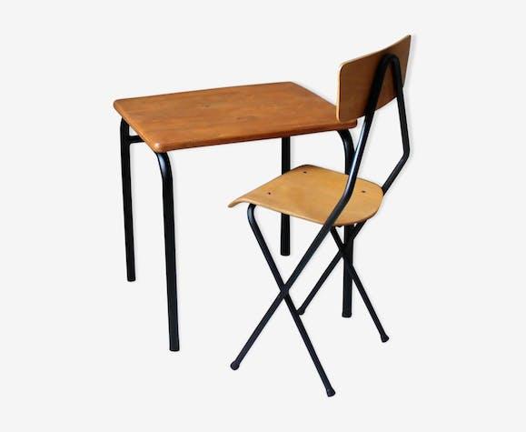 Bureau d'écolier enfant vintage & sa chaise