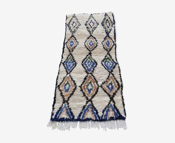Tapis berbere azilal en laine et coton fait main 185x85 cm