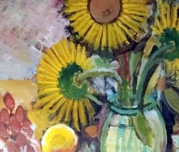 Huile sur panneau peinture nature morte bouquet de fleurs
