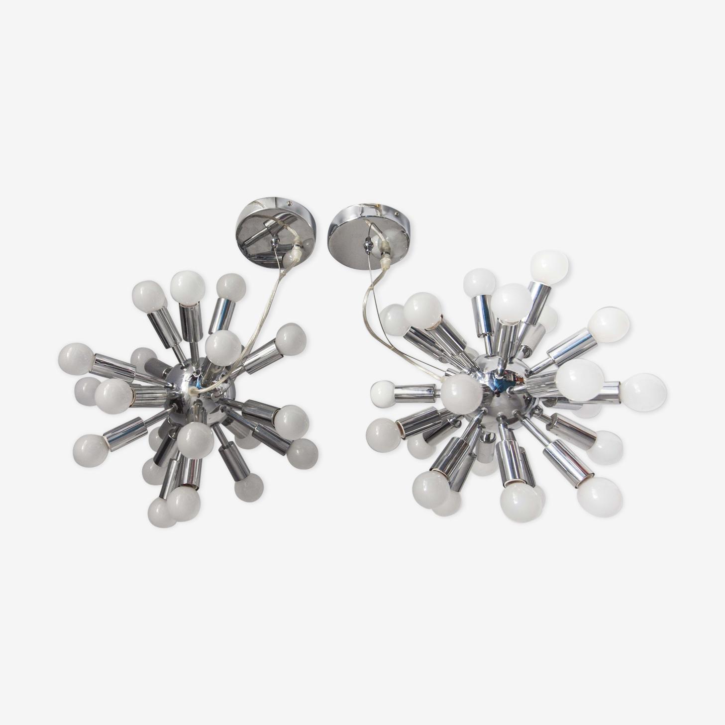 Pair of vintage chrome Sputnik chandeliers