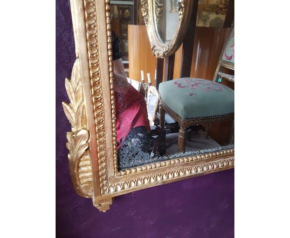 Louis XVI-era mirror in gilded wood 117x71cm