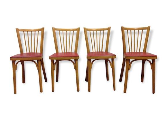 chaise baumann bistro vintage des ann es 50 assise en ska rouge ska rouge vintage 64034. Black Bedroom Furniture Sets. Home Design Ideas