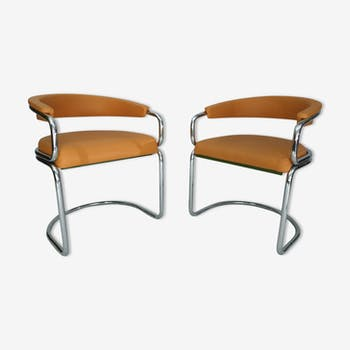 Pair of chairs in chrome tubular 1970