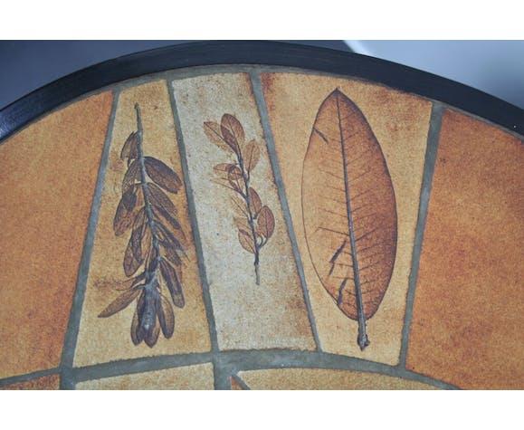 Table basse céramique Leduc Vallauris de 1960 modèle herbier