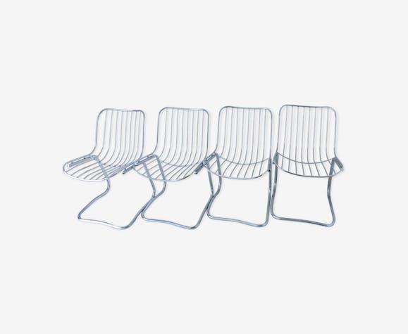 Quatre chaises en métal Gastone Rinaldi années 70