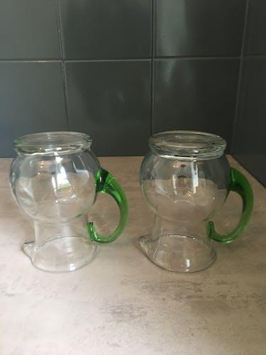 Lot de 2 pichets verre soufflé