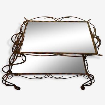 rare ancienne desserte roulettes en bois avec double plateau art deco des ann es 60 70. Black Bedroom Furniture Sets. Home Design Ideas