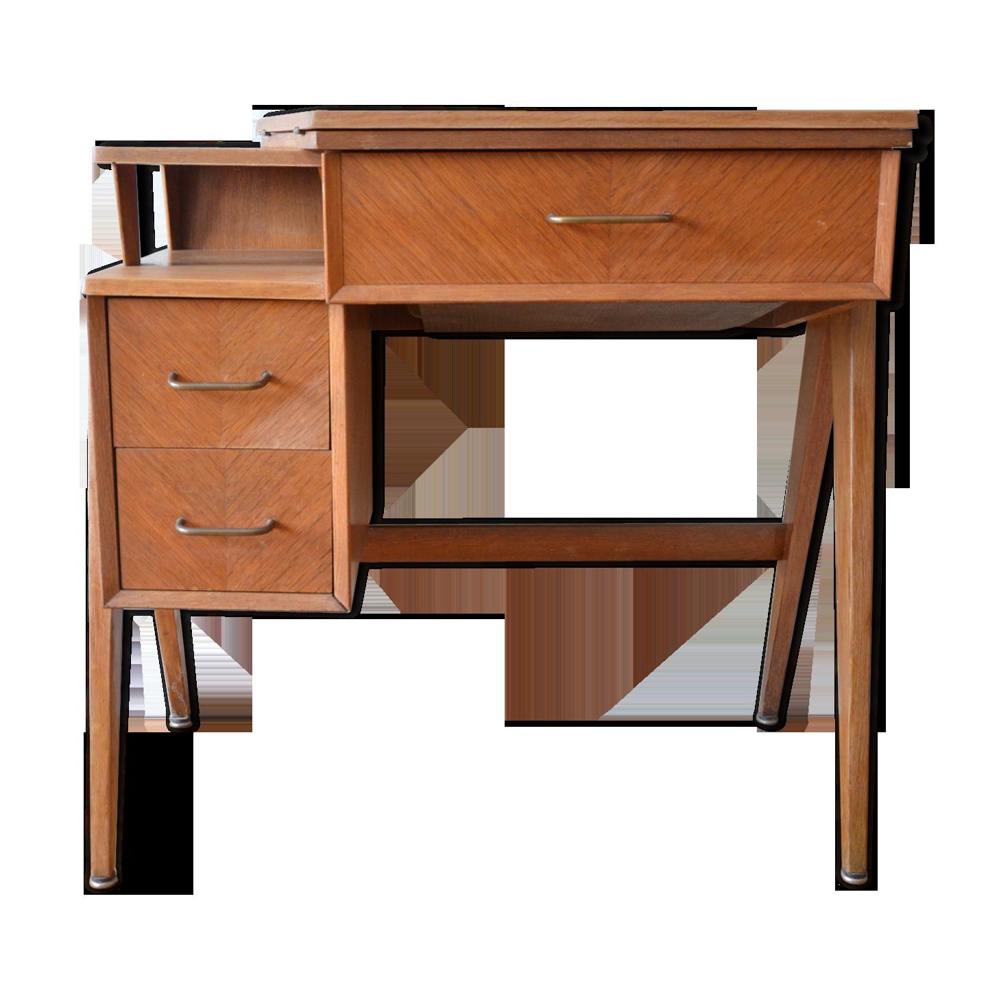 Bureau et sa machine à coudre singer intégrée bois
