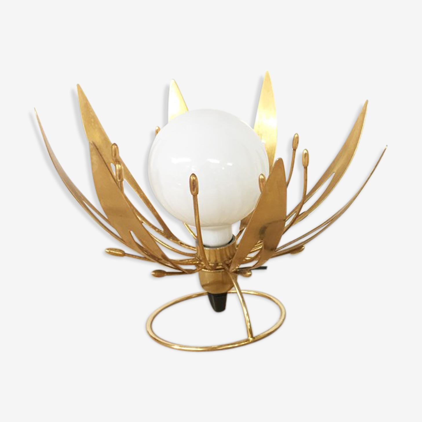 """Lampe italienne vintage """"Lotus"""" dorée 1970"""