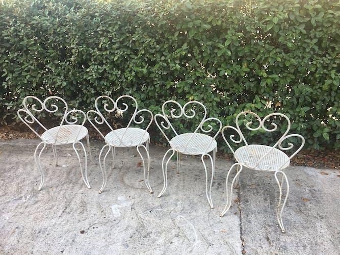 Lot de 4 chaises fer forgé