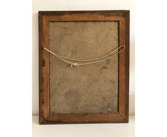 """Huile sur panneau vintage dans un cadre sculpté en bois,""""bouquet de tulipes"""", XXème"""
