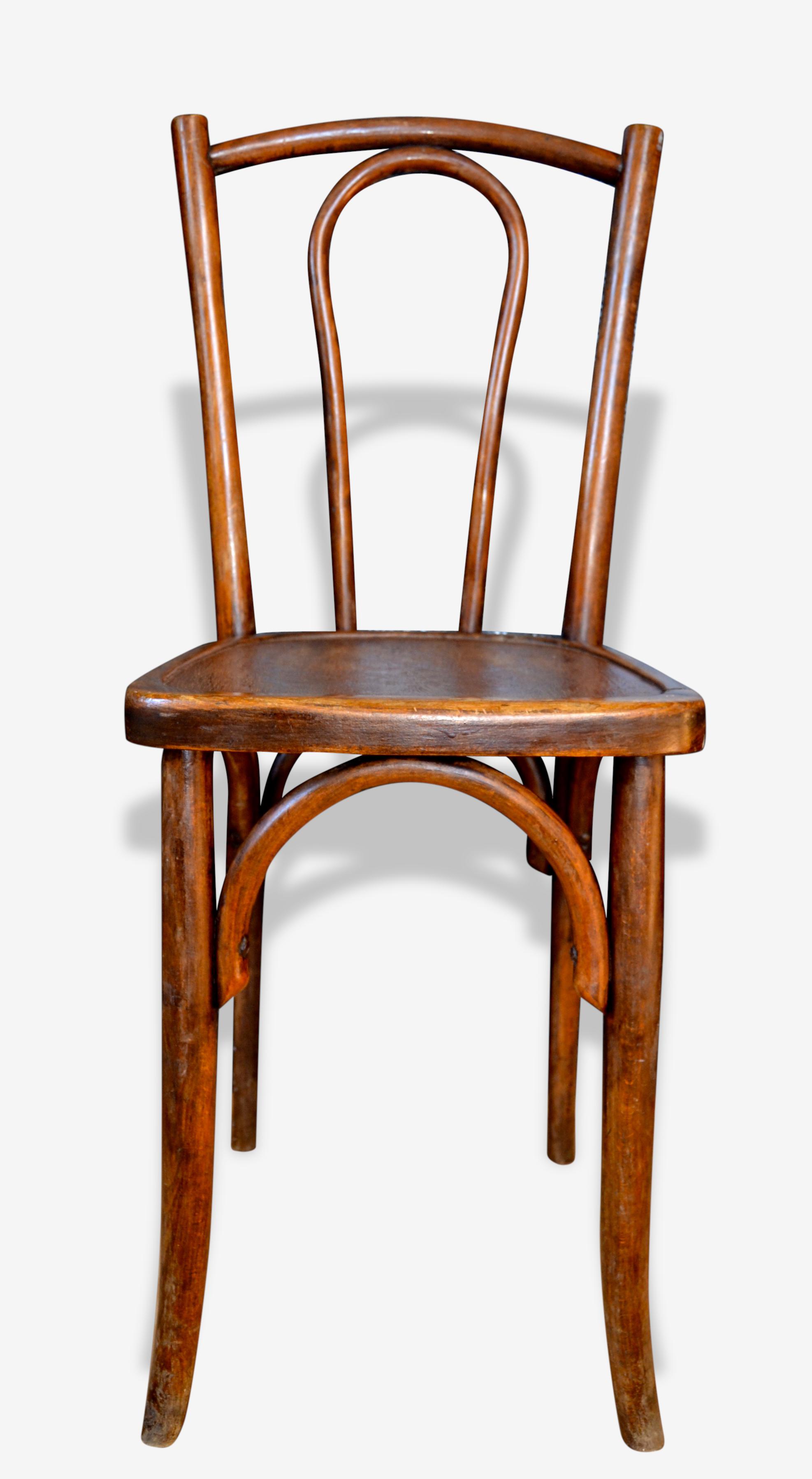 Chaise de bistrot, BAUMANN pour JAPY FRÈRES, assise gravée.