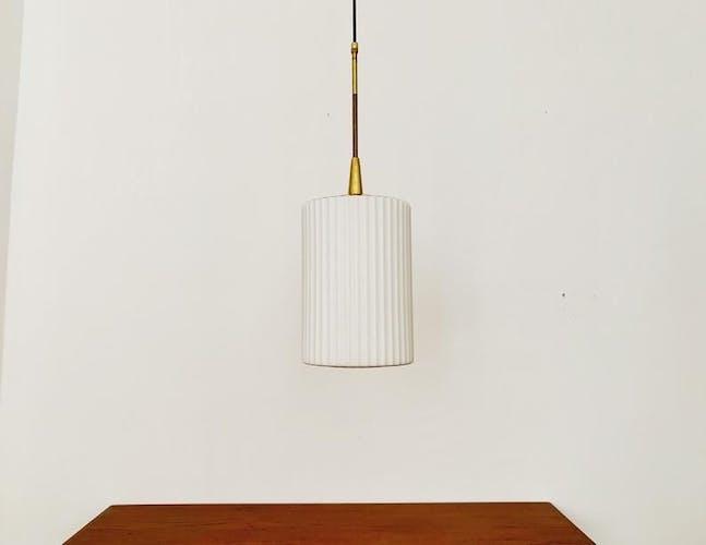 Mid Century Modern opaline glass and brass hanging