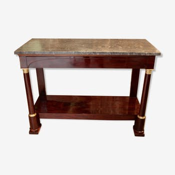 Console empire mahogany and marble tray