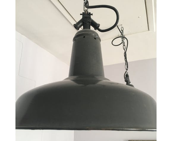 Pair of two hanging industrial enamel black