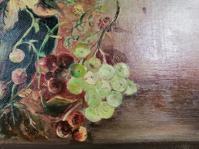 Oil on panel flowers and grapes framed and signed