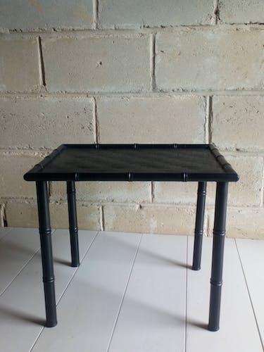 Table d'appoint bois et bambou noire