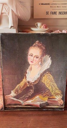 Deux portraits vintage à l'huile