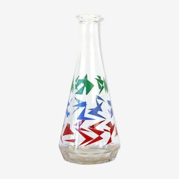 Carafe en verre motif graphique rétro