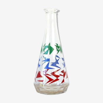 Retro graphic glass carafe