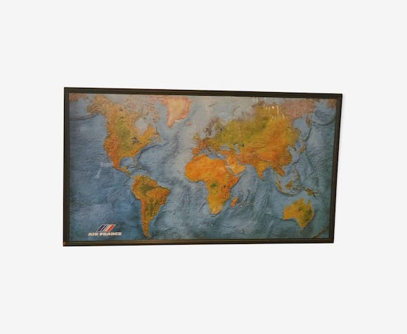 Vintage IGN map Air France of the years 80 signed Morel