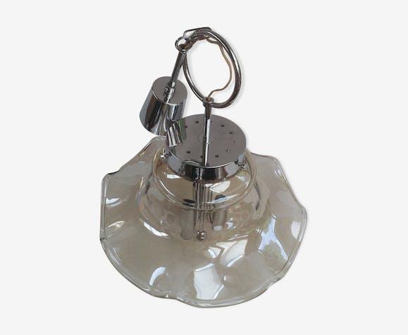 Suspension métal chromé et verre 70