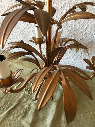 Lustre vintage doré à décor de feuilles