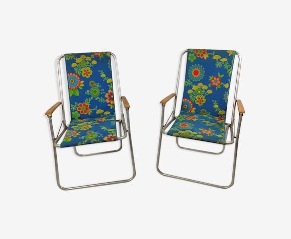 Paire de fauteuils transat pliante années 60 Kettler