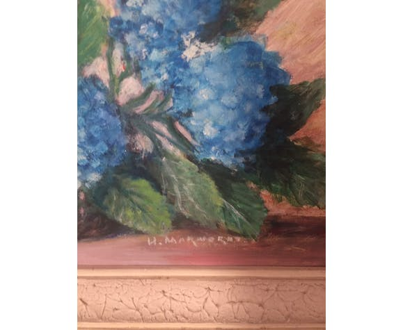 Table signed hydrangea bouquet 30/40