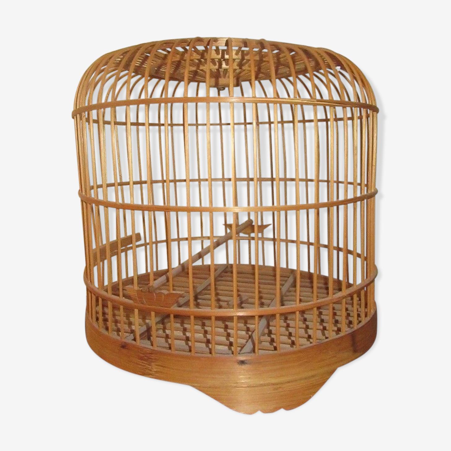 Ancienne cage a oiseaux en rotin et bois vintage