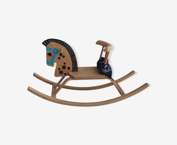 Cheval à bascule en bois années 70