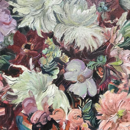 Tableau bouquet multicolore
