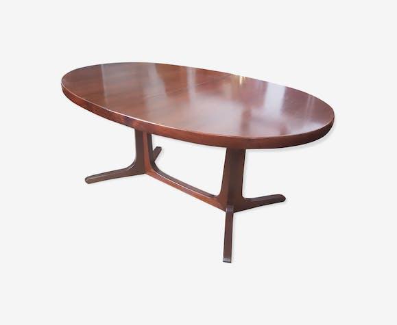 Table de repas teck massif ovale avec rallonges