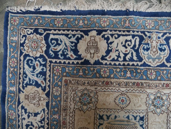 Hand knowned rug Persian Ghoum or Qom gold background  230x330cm
