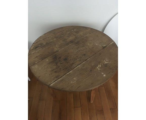 Table ronde bois vintage