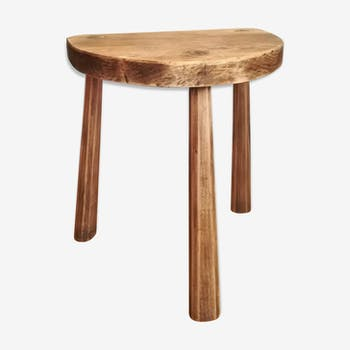 Tripod stool brutalist Vacher solid wood