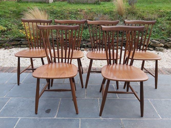Ensemble de 6 chaises en teck Pastoe par Yngve Ekstrom, 1966