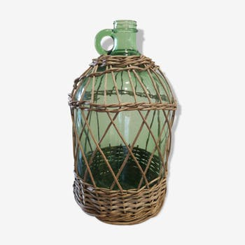 Bottle covered handle of Wicker