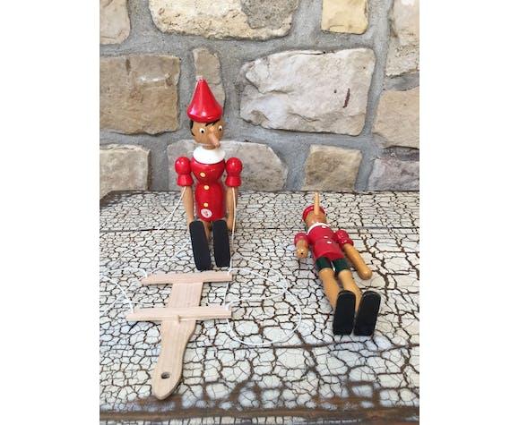 Duo de pinocchio pantin articulé et pinocchio classique