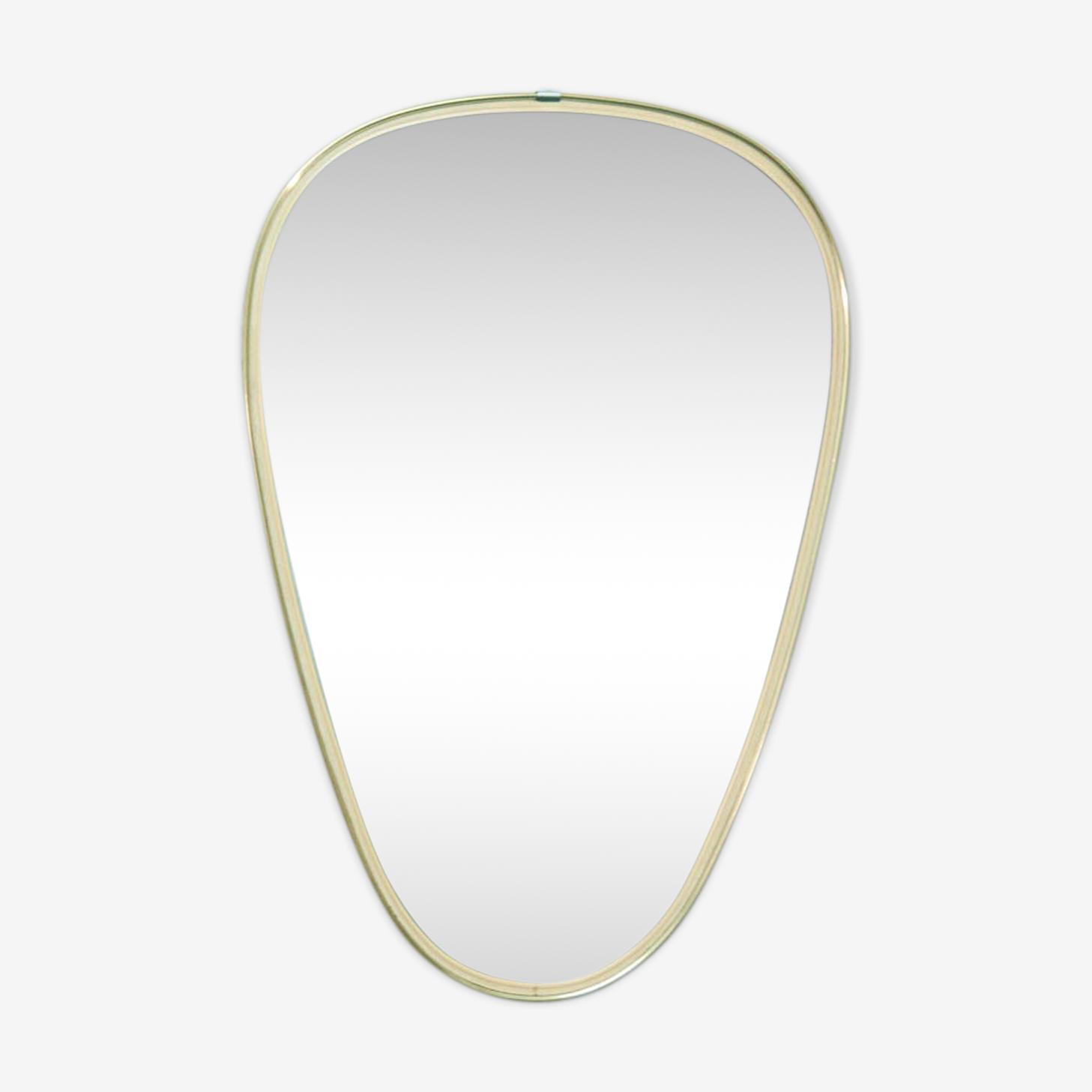 Golden brass oval mirror 48x32cm