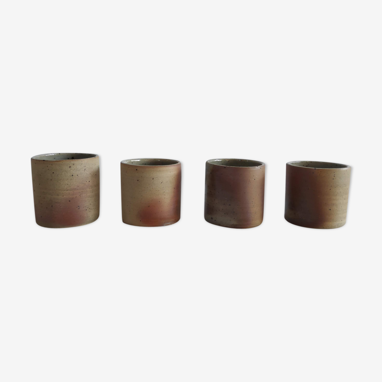 4 mugs en grès ocre des années 60