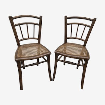 Set of 2 old Bistro Style in wood & caning 70s Vintage Thonet chairs