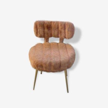 Chaise pelfran en fourrure synthetique beige, pieds compas doré vintage 1960